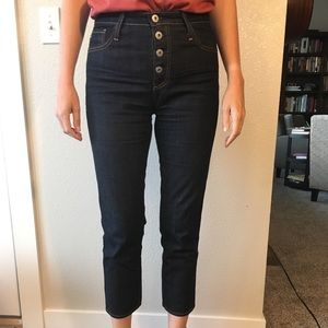 AG Isabelle High Rise Button Straight Crop